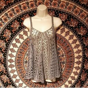 Grey flowy crochet boho tank top